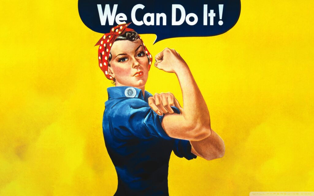 """A woman, Rosie the Riveter, shows off her bicep and says """"We Can Do It!"""""""